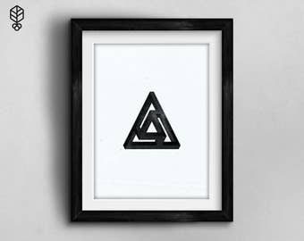 Minimalist, Impossible triangle, Geometric Art, Home, Premium Print.