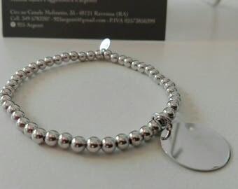 Elastic bracelet beads in 4 mm diameter silver Medallion pendant