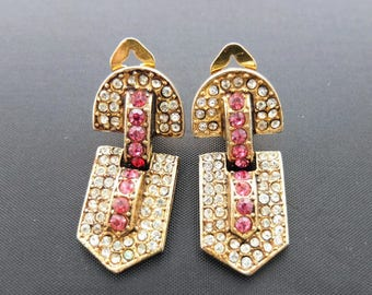 Vintage Clip Earrings - Pink And White Rhinestone Door Knocker Earrings, Pink Earrings, Large Earrings, Costume Jewellery