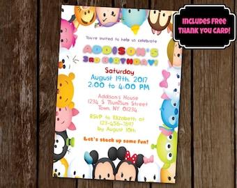 Tsum Tsum Invitation, Tsum Tsum Birthday Party, Printable Invitation, Digital Invitation