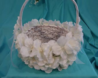Custom Flower Girl basket covered in Hydrangea Petals