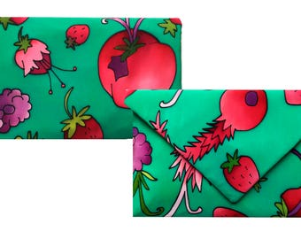 Exclusive clutch in natural silk hand painted