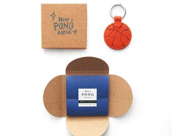 The mini Basketball leather Keychain/ Ring