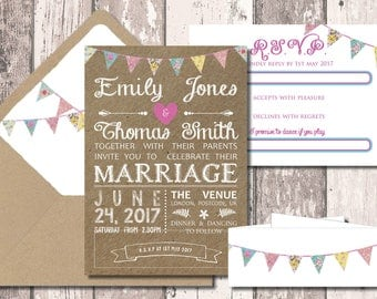 Kraft Bunting Wedding Invitation