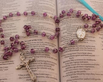 Lilac Cathedral Glass Rosary