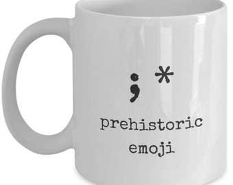 Prehistoric Emoji mug, Blowing Kisses Mug, Kissy Face Mug, Funny Emoji Mug