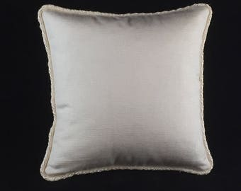 Ivory cotton cushion with flange cord trim