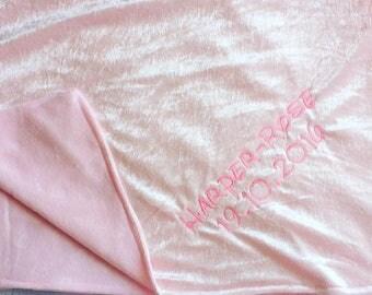 personalised baby blanket crushed velvet