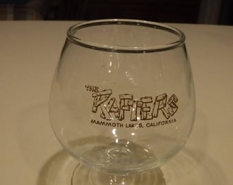 The original Rafters Mammoth Lakes Calif brandy snifter glass 1970's logo