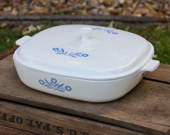 Corning CornFlower Pyroceram - Vintage Corningware - Corningware Cornflower - Blue Flower Corningware - Vintage casserole dish - White dish