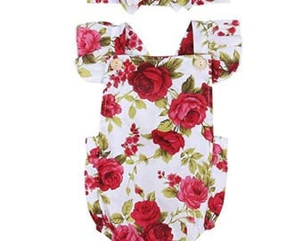 Baby Girls Clothes Floral Jumpsuit Romper Playsuit + Headband Outfits (0-6 Months)