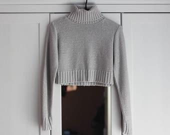 Knit Crop Top Women Sweater Turtleneck Gray Vintage Retro