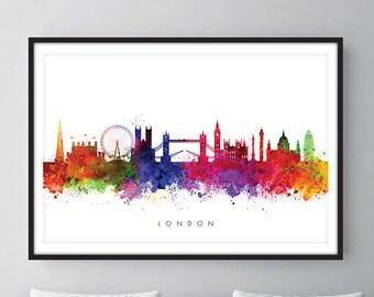 London Skyline, London Cityscape England, Art Print, Wall Art, Watercolor, Watercolour Art Decor [SWLDN01]