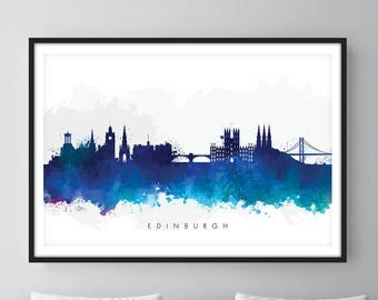 Edinburgh Skyline, Edinburgh Scotland Cityscape Art Print, Wall Art, Watercolor, Watercolour Art Decor [SWEDI06]