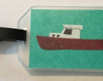 Lobster Boat Fabric  Luggage Tag