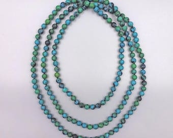 "60"" Matte Finished Azurite Round Bead Necklace"