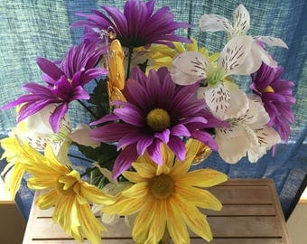 Yellow and Purple Silk Flower Arrangement