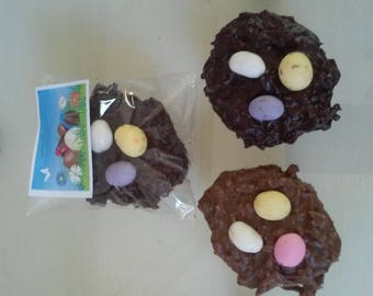 Brelgian Chocolate Coconut Easter Nests with Malted Eggs