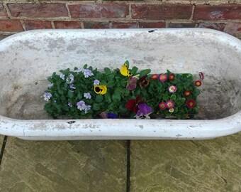 Antique enamelled child's baby bath garden planter rustic