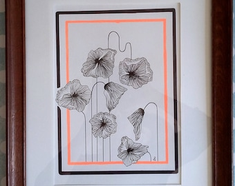 original art and unique poppies - flowers motif - poppies - deco neon contemporary