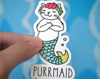 Funny Cat Mermaid Purrmaid Sticker - Cute Cat Stickers - Mermaid Stickers - Cat Lover Stickers - Cool Pun Stickers - Tumblr Stickers - S15