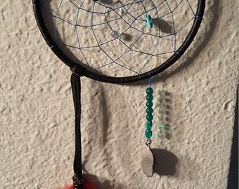 Black and teal dream catcher