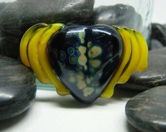 Purple Mystery in Flight Glass Heart Lampwork Pendant