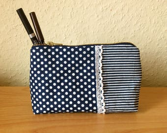 Cosmetic bag blue / white stripes / dots pencil case with zipper from metal make-up bag