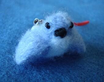 Needle felted miniature blue bird plush keychain