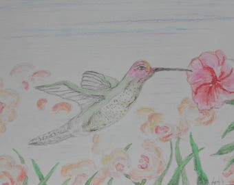 Hummingbird with floral watercolor pencil drawing