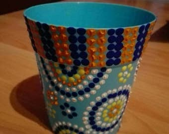 Light blue flower pot set Dotpainting