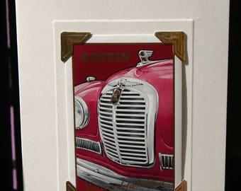 Handmade greetings/birthday card. Genuine vintage playing card, 1950s, Austin A40 Somerset car.