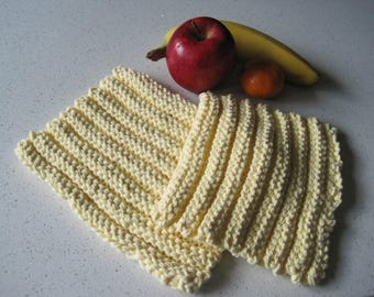 Pale Yellow Knit Dishcloth/Hot Pad, Set of 2