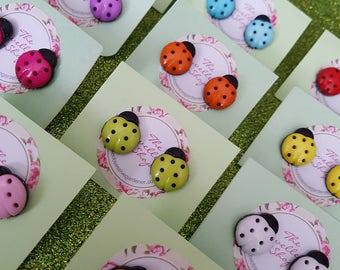 Large Ladybird Stud Earrings Choice of Colours Kitsch Cute Funky