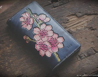 Pink blossom hand tooled/carved wallet