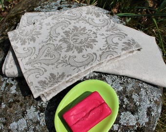 Linen towel set of 2, bath towels, face towel, linen towel set, spa linen towels, floral motives towel