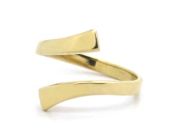 14K Yellow Gold Adjustable Crossover Band Toe Ring