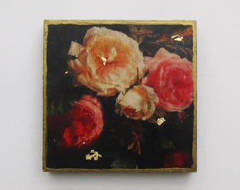 Beautiful Roses, Flower Art, Rose Wall Art, Dutch Art, Rose Wall Decor, Pink and White Roses, Gift for Her