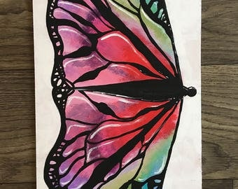 """Butterfly Painting // Stained glass // 15 3/4"""" x 9 3/8"""""""