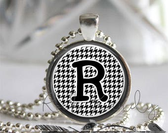 Black and White Houndstooth Personalized Monogram Glass Tile Pendant Necklace Silver Bezel