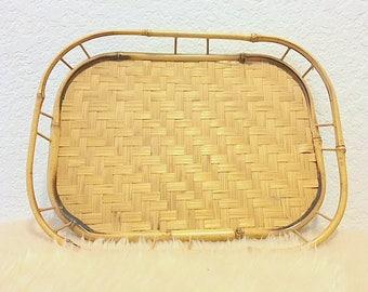 Small Vintage Rattan Tray
