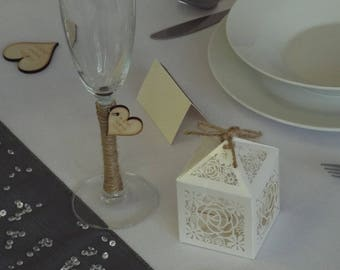 Wooden Engraved Rustic Wedding Favours or Table Scatters (Pack of 20)
