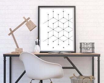 Retro Cube & Dot Pattern Print, Minimalist Poster, Monochrome Art, Geometric, Graphic Home Decor, Black and White Modern Printable Download