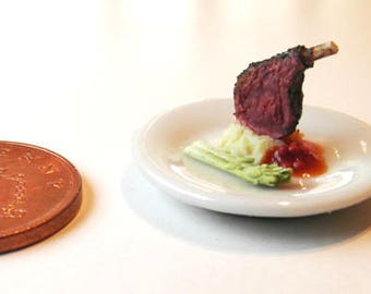 Herb Crusted Lamb with Potato - Miniature Food