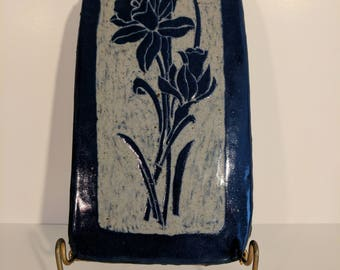Duo of Dark Blue Daffodil Flowers Handmade Ceramic Wall Hanging Art Nouveau Abstract