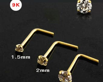 9K Solid Gold – L Nose Ring/Stud/Pin 1.5mm CZ