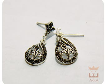 Vintage Earrings Small Handmade Flower Natural Silver 925 Sterling Chandelier Earrings