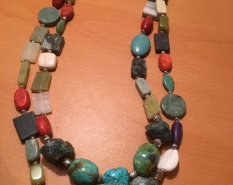 Multistrand necklace made of multicolored beads