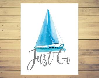 Boat Print, Transportation Print, Travel Print, 8x10 Print, Travel Quote, Adventure Print, Wanderlust Art, Adventure Quote, Watercolor Art