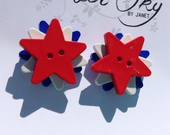 Patriotic Star Button Earring Red White Blue Nickel Free USA July 4th